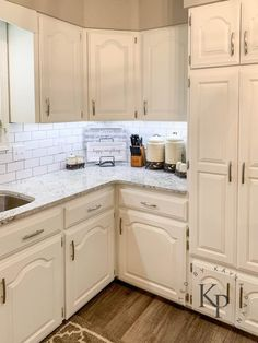 Kitchen Cabinets In Alabaster Painted by Kayla Payne White Kitchen Ideas Alabaster Cabinets Kayla Kitchen Painted Payne Sherwin Williams Alabaster, Rustic Kitchen, New Kitchen, Kitchen Decor, Distressed Kitchen, Kitchen Ideas, Craftsman Kitchen, Cream Kitchen Cabinets, Painting Kitchen Cabinets