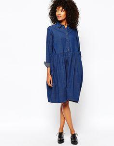 Image 4 ofMonki Smock Denim Dress