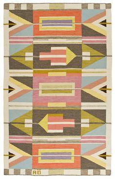 Agda Österberg; Flat Weave Wool Rug, 1960s.