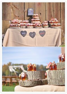 Maple Syrup Favors displayed on tree trunk slices - how fitting