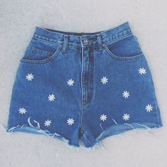 High Waisted Demin Shorts Daisy Sunflower Vintage Shorts Tumblr... ($35) ❤ liked on Polyvore featuring brandy melville
