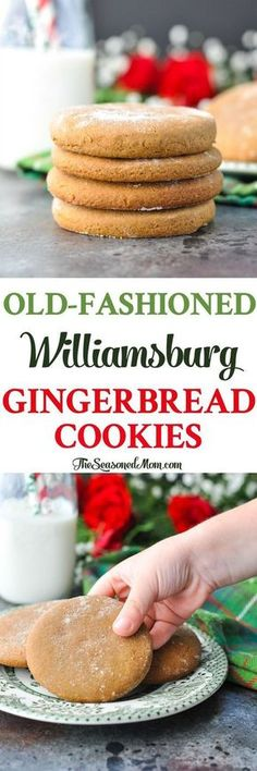 Low Unwanted Fat Cooking For Weightloss These Simple And Delicious Old-Fashioned Williamsburg Gingerbread Cookies Are The Perfect Classic Christmas Cookies Christmas Recipes Holiday Baking Cookie Recipes Holiday Cookies, Holiday Treats, Holiday Recipes, Christmas Recipes, Christmas Treats, Christmas Christmas, Simple Christmas, Christmas Chocolate, Fall Cookies