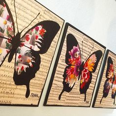 "Three beautiful musically inclined butterflies have fluttered in and they're just lovely! Created by the one and only FRANK. @tigersandmore  Each piece measures 24"" x 24"". $80/ea. The butterflies are made up of many intricately cut flower images all pieced together to create the wings on sheet music. Come see! #butterflies #butterfly #collage #music #frankart #frank #mooncookiegallery #art #decoupage #sheetmusic #kankakee #illinoisartisan by mooncookiegallery"