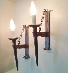 Pair wrought iron sconces vintage wall lights in Gothic style with chains Vintage Wall Lights, Vintage Walls, Vintage Country, French Vintage, Wrought Iron Chandeliers, Electrical Equipment, Gothic Fashion, Rustic Farmhouse, Chains