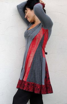 Fantasy red and grey romantic dress tunic recycled by jamfashion - love the shapes!