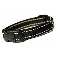 """This fashionable and unique design will be noticed by passers-by when you're out for a stroll with your furry loved one. This prissy collar is a must have for your doggy diva! Designer ribbon featuring beige stitching on classic black nylon webbing with quick release buckle.Collar widths: XS 5/8"""" 