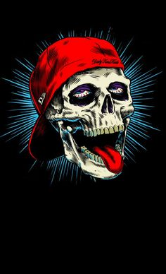 Skull wearing a backwards red ball-cap wth his red tongue sticking out,