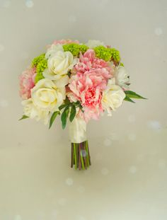 Pink peonies, ivory roses, and green mums real touch wedding bouquet by Lilywinkel