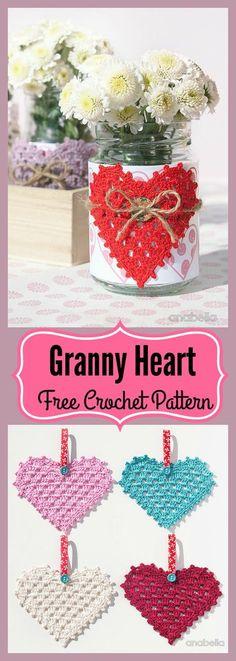 Granny Heart Free Crochet Pattern #Valentines # Gift