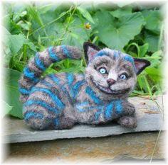 Cheshire Cat from Wonderland OOAK Alpaca Needle Felt. $895.00, via Etsy..