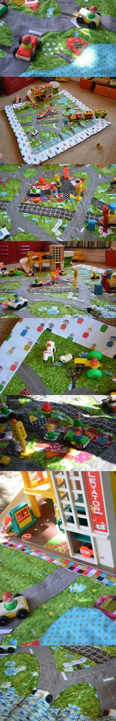 PDF Pattern & tutorial - 2 Quiet book pages: Car and Traffic roads Sewing For Kids, Diy For Kids, Car Play Mats, Felt Play Mat, Imagination Tree, Busy Book, Sewing Toys, Imaginative Play, Diy Toys