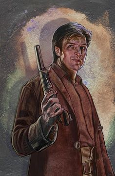 Nathan Fillion (Captain Malcolm Reynolds)  artwork from the Calgary Expo