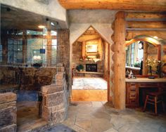 Classic Rustic Home Design with Stunning Interior Side : Beautiful Bathroom With Screened Shower Glass Door Schuette Residence