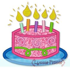 Applique Birthday Cake 4x4 5x7 6x10  **This can be done w/o swirlies and put monogram on cake instead**