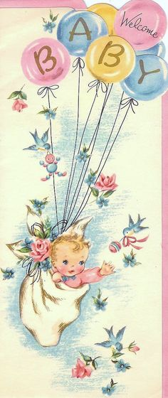 Celestial Charms: Vintage Baby Cards