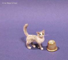 OOAK 1 12 Dollhouse Miniature Cat Kitten Handmade   eBay