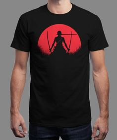 """Red Moon Zoro"" is today's £8/€10/$12 tee for 24 hours only on www.Qwertee.com Pin this for a chance to win a FREE TEE this weekend. Follow us on pinterest.com/qwertee for a second! Thanks:)"