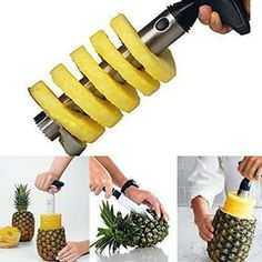 Fruit Pineapple Corer Slicer Cutter Peeler Stainless Steel Easy Kitchen Tool US Pineapple Slicer, Pineapple Fruit, Kitchen Tools, Kitchen Dining, Kitchen Products, Kitchen Gadgets, Fried Rice Dishes, Portable Blender, Fruit And Vegetable Carving