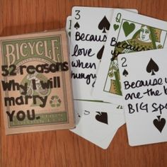 This bride wrote a series of adorable notes to her groom on playing cards. Photo by Daniel Ricci.