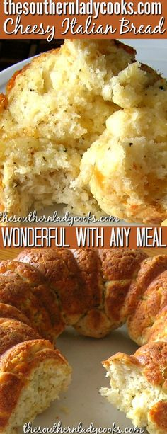 Cheesy Italian bread is a pull-a-part bread that is delicious with any meal. Make it for an appetizer and dip it in your favorite sauces, too. Homemade bread is always the best. We love this bread with spaghetti. Bread Recipes, Cooking Recipes, Cooking Bread, Cake Recipes, Basic Bread Recipe, Pull Apart Bread, Italian Bread, Bread And Pastries, Snacks