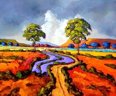we have one of his paintings, but i love the colour in this one. Painting by Cornelius Bosch Paintings I Love, Colorful Paintings, Tree Paintings, Landscape Art, Landscape Paintings, Art History Lessons, South African Artists, Africa Art, Guache