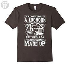 Men's Funny Truck Driver T-Shirt - Trucker Made Up Logbook 2XL Asphalt - Birthday shirts (*Amazon Partner-Link)