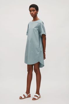 COS image 6 of Pleated back dress in Aqua