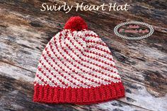The Swirly Heart Hat crochet pattern uses the waistcoat aka knit stitch and is super fun and easy to make. Who does not love swirls and hearts on hat?