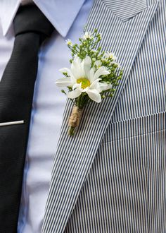 Adam #2  neater daisy + classic gypsophila.  White and Green Daisy and Baby's Breath Boutonniere