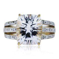 10k Yellow Gold Concave Cut White Topaz Ring $195