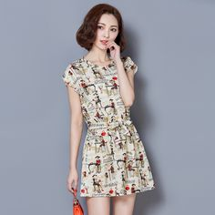 2017 Summer Fashion New Women's Casual Round Neck Character Printed Dress / Woman's Cotton Liners Cool Comfortable Dress