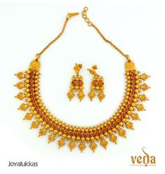 Indian Jewellery and Clothing: Light weight gold jewellery of veda collection from Joyallukas. Indian Wedding Jewelry, Indian Jewelry, Bridal Jewelry, Bridal Necklace, Light Weight Gold Jewellery, Clean Gold Jewelry, Gold Chain Design, Gold Jewellery Design, Jewellery Diy
