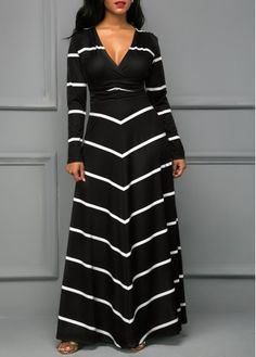 Black V Neck Long Sleeve Stripe Print Dress at Rosewe.com, free shipping worldwide, check it out.