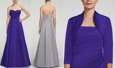 David's Bridal Strapless Satin Pleated Bodice Ball Gown Style F15554 Comes in Regency Purple  bridesmaids dress. Fully lined. Back zip. Imported polyester. Dry clean. Paired with a 3/4 sleeve Regency Purple satin shrug for bridesmaid's dress- (Regency Purple color can only be bought in the store not online). davidsbridal.com