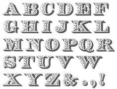 """BaltimoreTypeFoundry # Tipografia # Inovação # Desenhar por dentro da letra, decorar a letra, investir na decoração da superfície, padronização do interior da forma tipográfica (> peso, > expressão visual). Aplicar todas as técnicas e artifícios decorativos na tipografia - """"horror ao vazio"""" (período vitoriano)."""