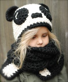 Ravelry: Paige Panda Hat/Scarf pattern by Heidi May