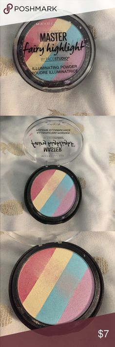 Fairy Highlighter Maybelline Fairy Highlighter. Really pretty, very versatile face powder. Can be used as eyeshadow, highlight, or as a blush topper. Really unique shade when mixed together. Will sanitize before shipping Maybelline Makeup Face Powder