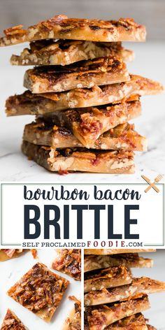 Homemade Bourbon Bacon Brittle with toasted pecan and spicy candied bacon is the perfect holiday sweet treat! Satisfy all those sweet bacon cravings! If you're looking for a recipe that your guests will love during your holiday entertaining, Bourbon Bacon Brittle won't disappoint! #brittle #bacon #bourbon #recipe #dessert #pecan