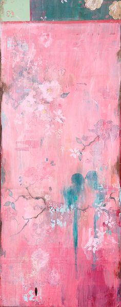 "Kathe Fraga - ""Her Pink Silk Kimono""_ww.jpg (474×1200) www.kathefraga.com 14x60 on frescoed canvas. Inspired by vintage Paris and chinoiserie ancienne."