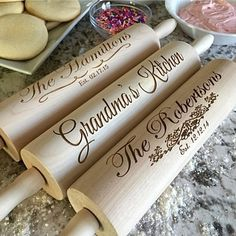 "These personalized, high-quality rolling pins make for amazing wedding, bridal shower, birthday or ""just because"" gifts. Laser-engraved with the full names and date of your choice, you can also choose the type of design and font. An elegant touch to any kitchen, these unique rolling pins will be a treasured gift for years to come."