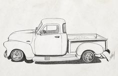 Vintage 1954 Pickup Pencil Sketch Paper by on DeviantArt 1954 Chevy Truck, Vintage Chevy Trucks, Classic Chevy Trucks, Vintage Cars, Car Drawings, Cartoon Drawings, Drawing Sketches, Sketching, Car Drawing Pencil
