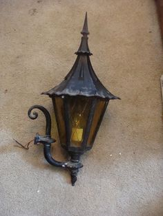 Vintage Wrought Iron Gothic Outside Sconce Lamp Light Medieval Amber & Black MCM