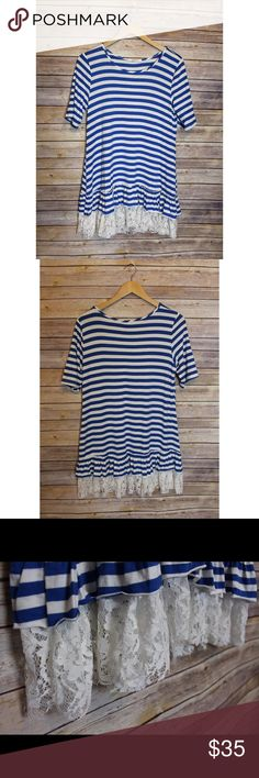 Striped tunic This tunic screams summer with the dainty lace detail on bottom. SUPER soft and stretchy! Perfect with leggings! Tops Tunics