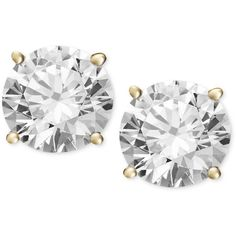 Diamond Stud Earrings (1/2 ct. t.w.) in 14k White or Yellow Gold ($1,400) ❤ liked on Polyvore