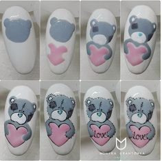 What manicure for what kind of nails? - My Nails Animal Nail Designs, Animal Nail Art, Nail Art Designs, Cute Nails, Pretty Nails, My Nails, Nail Drawing, Valentine Nail Art, Bear Valentines