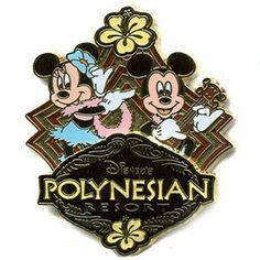 Disney's Polynesian Resort Logo Pin - Mickey and Minnie Hula Luau