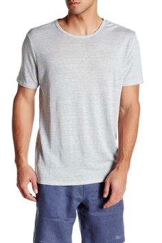 Chad Short Sleeve Striped Linen Tee