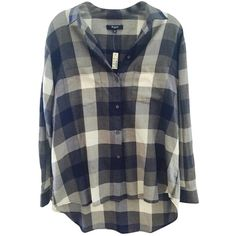f27a6b72d Pre-owned Madewell Blue Grey Button Down Shirt ( 71) ❤ liked on Polyvore  featuring tops