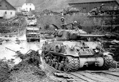 """historywars: """" An American M4A3E8 """"Easy Eight"""" tank and other vehicles of the 11th Armored Division in Austria, 1945. """""""