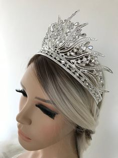 Silver Tiara Bridal Crown Crystal Wedding Tiara Wedding Hair | Etsy Bridal Crown, Bridal Tiara, Bridal Headpieces, Bridal Earrings, Bridal Jewelry, Princess Bridal Showers, Silver Tiara, Crown Hairstyles, Crystal Wedding